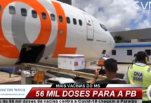 Photo of ASSISTA : Mais de 56 mil doses de vacina contra a Covid-19 chegam à Paraíba