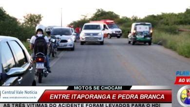 Photo of ASSISTA: Acidente envolvendo duas motos deixa três pessoas feridas entre Itaporanga e Pedra Branca